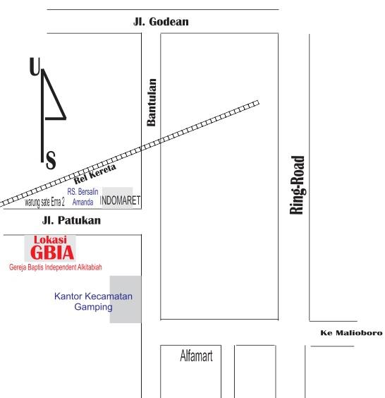 Denah Lokasi GBIA Batukarang, Ruko Patukan no 1 (Sebrang SATE ERNA 2)